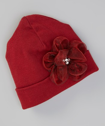 Ruby Jewel Flower Beanie