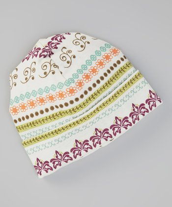 White & Olive Filigree Beanie