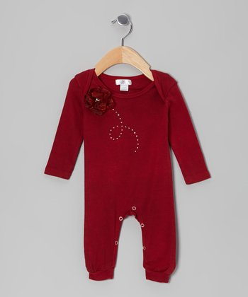 Ruby Rhinestone Swirl Flower Playsuit - Infant