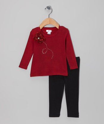 Ruby Rhinestone Swirl Flower Tunic & Black Leggings - Infant