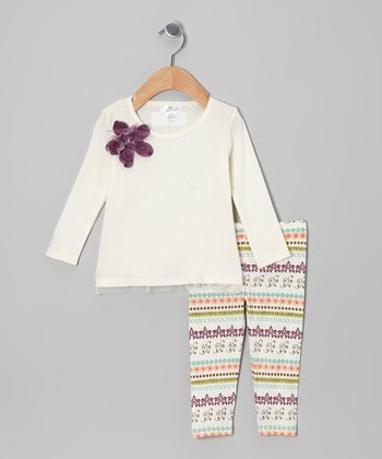 Ivory Gem Flower Tunic & Purple Filigree Leggings - Infant