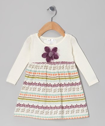 Ivory & Purple Gem Flower Filigree Dress - Infant