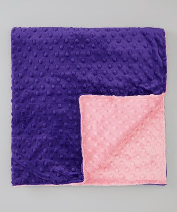 Purple & Paris Pink Minky Stroller Blanket