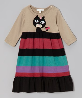 Khaki Kitty Stripe Dress - Infant & Toddler