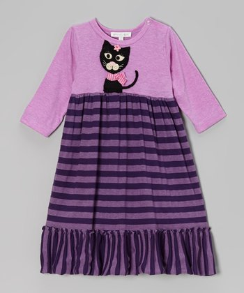 Lilac Kitty Stripe Dress - Infant & Toddler