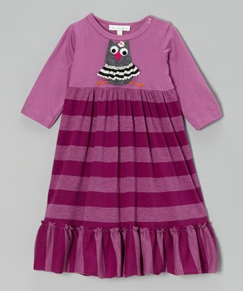 Purple Owl Stripe Dress - Infant & Toddler