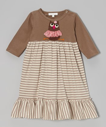 Brown Owl Stripe Dress - Infant & Toddler