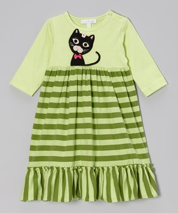 Lime Kitty Stripe Dress - Infant & Toddler
