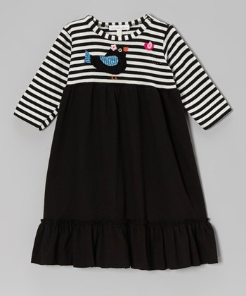 Black Stripe Bird Dress - Infant & Toddler