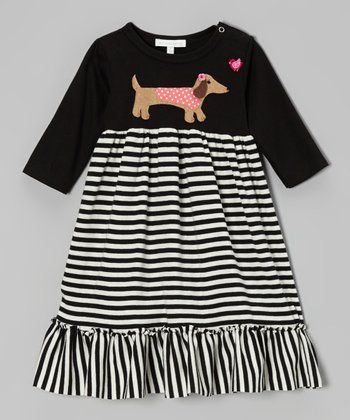 Black & White Dachshund Stripe Dress - Infant & Toddler