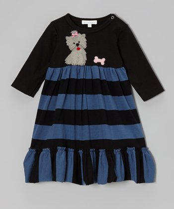 Black Puppy Stripe Dress - Infant, Toddler & Girls