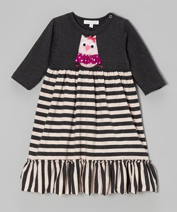 Charcoal Owl Stripe Dress - Infant