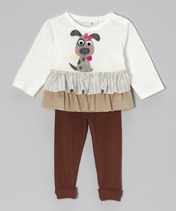 Off-White Dog Ruffle Top & Brown Leggings - Infant