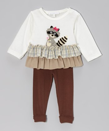 Off-White Raccoon Ruffle Top & Brown Leggings - Infant