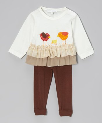 Off-White Chicken Ruffle Top & Brown Leggings - Infant