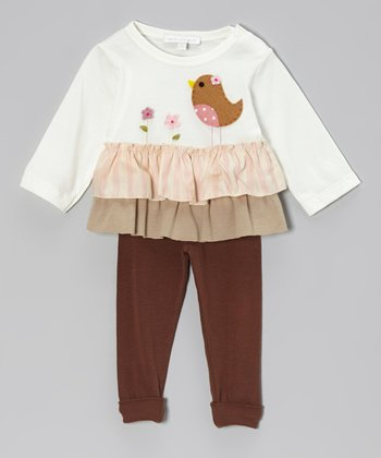 Off-White Bird Ruffle Top & Brown Leggings - Infant