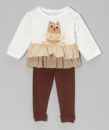 Off-White Owl Ruffle Top & Brown Leggings - Infant