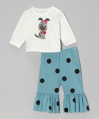 Off-White Dog Top & Turquoise Ruffle Pants - Infant, Toddler & Girls