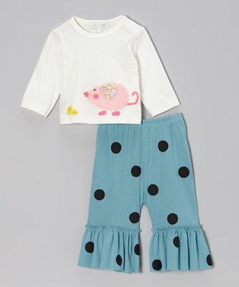 Off-White Mouse Top & Turquoise Ruffle Pants - Infant & Toddler