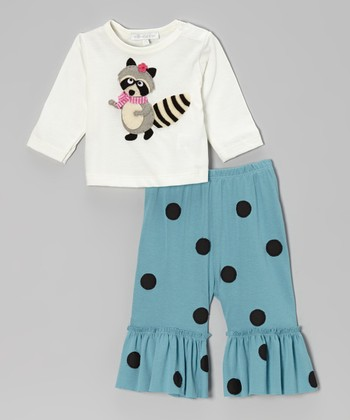 Off-White Raccoon Top & Turquoise Ruffle Pants - Infant, Toddler & Girls
