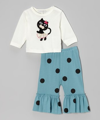 Off-White Cat Top & Turquoise Ruffle Pants - Infant, Toddler & Girls