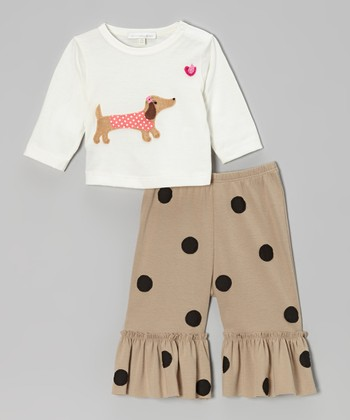 Off-White Dachshund Top & Khaki Ruffle Pants - Infant, Toddler & Girls