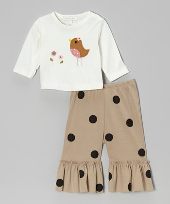 Off-White Bird Top & Khaki Ruffle Pants - Infant & Toddler