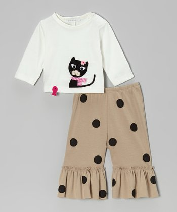 Off-White Cat Top & Khaki Ruffle Pants - Infant & Toddler