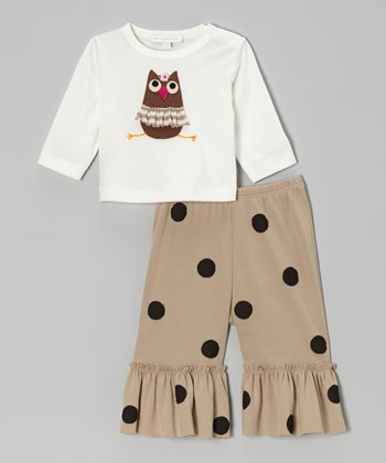 Off-White Owl Top & Khaki Ruffle Pants - Infant, Toddler & Girls