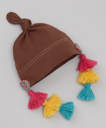 Brown & Pink Tassel Single-Knot Beanie