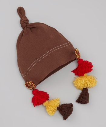 Brown & Red Tassel Single-Knot Beanie