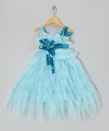 Light Blue Sequin Tiered Dress - Toddler & Girls