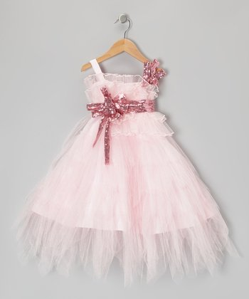 Pink Sequin Tier Dress - Toddler & Girls