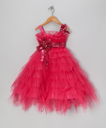 Hot Pink Sequin Tier Dress - Toddler & Girls