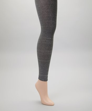 Silver Glitter Footless Sweater Tights