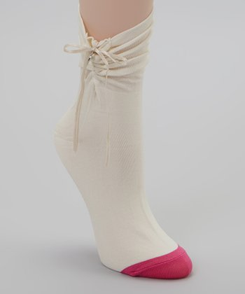 Cream & Pink Charming Crew Socks