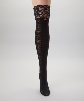 Black Vintage Vines Thigh-High Socks