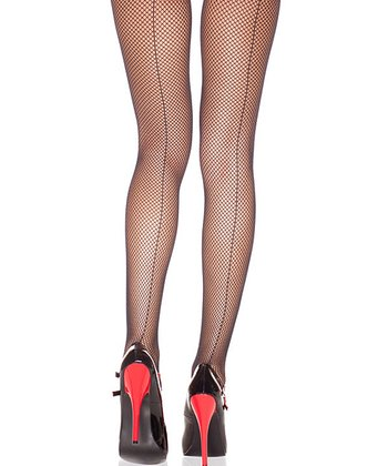 Black Back Seam Fishnet Tights - Women