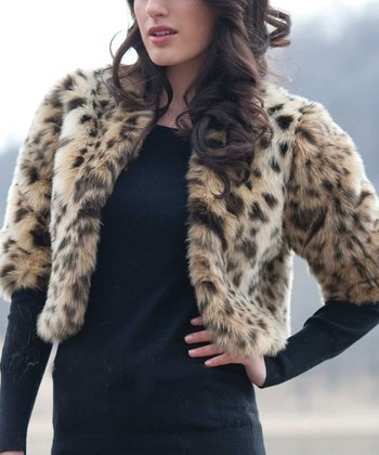 Brown Leopard Faux Fur Foxy Jacket - Women