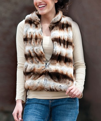 Tan Faux Chinchilla Vest - Women