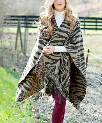 Brown Faux Zebra Poncho