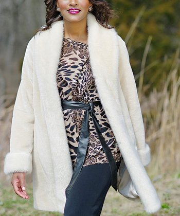 Ivory Faux Beaver Jacket  - Women