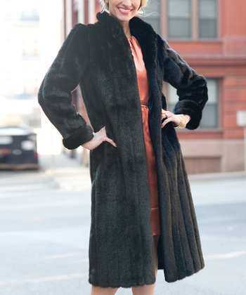 Black Faux Mink Long Jacket - Women & Plus