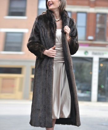 Brown Faux Sable Long Jacket - Women & Plus