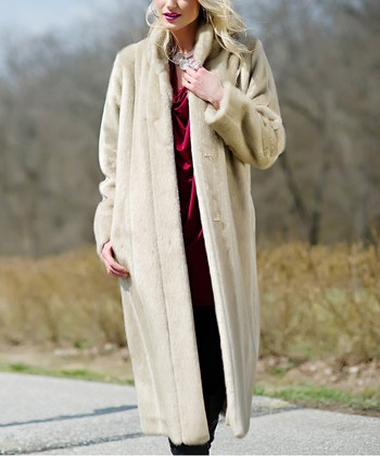 Tan Faux Mink Long Jacket - Women & Plus