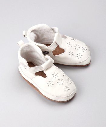 White Flower Leather Mary Jane - Infant & Toddler