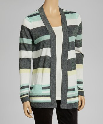 Black & Mint Stripe Cardigan
