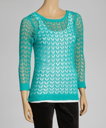 Teal Crocheted Sweater