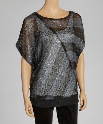 Gray Stripe Dolman Sweater