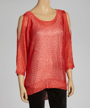 Coral Sparkle Cutout Sweater